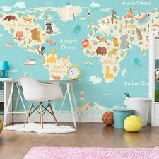 Wallpapers For Kids Bedroom | cartoon animal world map wallpaper children room boys and girls
