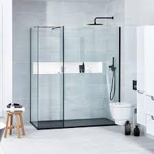 Black Shower Door Aquaglass L Shaped Matte Black Profile Walk In Shower