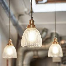 Ribbed Glass Pendant Light Brooklyn Vintage Antique Ribbed Glass Retro Cone Pendant 7 Inch