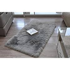 amazon com leevan plush sheepskin style throw rug faux fur