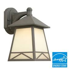 Hampton Bay Exterior Wall Lantern by Hampton Bay Bronze Outdoor Led Wall Lantern With Frosted Tea Stain