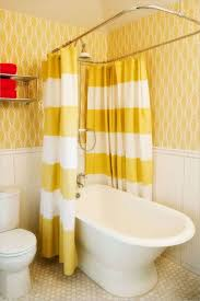 Yellow White Curtains Bathroom With Yellow Wallpaper And Yellow White Stripes Shower