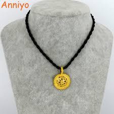 girl gold necklace images Anniyo ethiopian black rope necklace pendants for women girl gold jpg