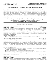 construction manager resume resume example