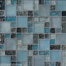 SF Blue Crackle Glass Mosaic Tile Backsplash Kitchen Wall - Crackle tile backsplash
