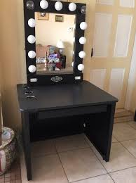 lighted vanity table accessories mirror tray mirrored desk with