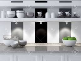 modern kitchen design ceramic kitchenware on the marble worktop