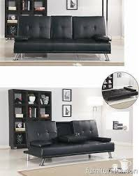 Sofa Bed Modern by Sofa Bed Modern Style Comfy Sofa Bed Cup Holder Faux Leather Black