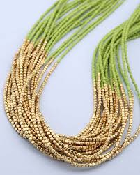 multi layered beaded necklace images Buy designer necklaces multi layer necklace with green golden jpg