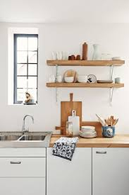 kitchen wall shelving ideas wall mounted modern varnished pine wood kitchen shelves with white
