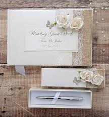 guest book and pen set wedding guest book pen set handmade hessian lace