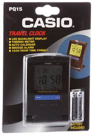 amazon com casio pq15 1k travel alarm clock with thermometer