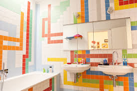 plush colorful bathroom ideas with red floating vanities and