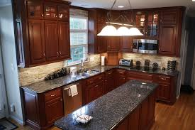 richmond blue pearl granite kitchen rustic with matchstick tile
