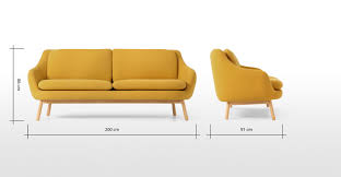 Oslo Bathroom Furniture by Oslo 3 Seater Sofa Yolk Yellow With Oak Legs Made Com