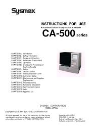 sysmex ca 500 blood coadulation analyzer instruction manual ac