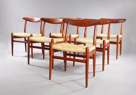 danish model w2 teak dining chairs by hans wegner for c m madsen