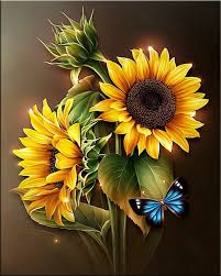 diy painting sunflower butterfly cross stitch
