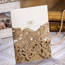 Gold Invitation Card Laser Cut Wedding Invitations Card Lace Flower Pattern Champange