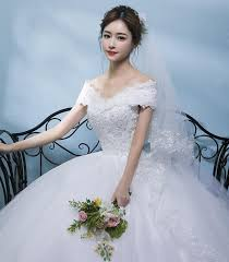 wedding dress korean dress 2017 new white word shoulder korean
