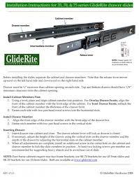 installation instructions for side mount gliderite drawer slides