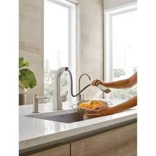 moen 90 degree kitchen faucet moen s7597srs 90 degree spot resist stainless pullout spray kitchen