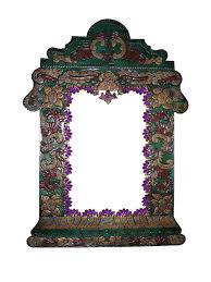 small colonial rustic painted tin mirror mexican rustic