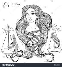 zodiac vector illustration astrological sign libra stock vector