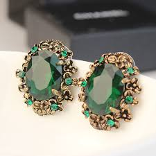 green earrings bronze color emerald green earrings stud earring accessories