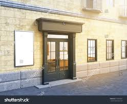 facade house small cafe on ground stock illustration 379395061