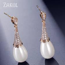 pearl dangle earrings aliexpress buy zakol cubic zirconia imitation