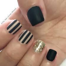 black u0026 stripes gold glitter nail art design nail art