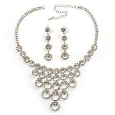crystal silver necklace images Bridal swarovski crystal bib necklace and drop earring jpg