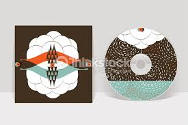 cd cover design template abstract linear pattern graphics vector