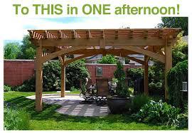 fast install 12x14 full size timber frame pergola kit before