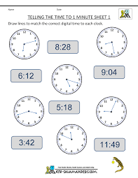 telling time to the minute worksheets worksheets