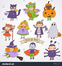 cute cartoon children halloween costumes princess stock vector