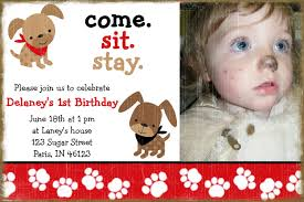 Sample 1st Birthday Invitation Card Dog Birthday Invitations Haskovo Me