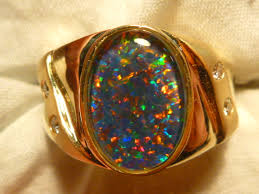 natural opal rings images Mens opal ring 14ct yellow gold natural opal triplet diamond jpg