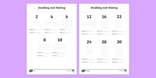 doubling and halving worksheet doubling halving worksheet