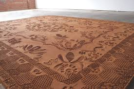 Red Patterned Rug Ephemeral Rug Art Formed From Careful Movements Of Special Shoes