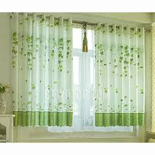 Country Style Window Curtains Country Style Polyester Bay Window Curtain With Leaves Patterns