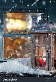 atmospheric christmas window sill decoration beautiful stock photo