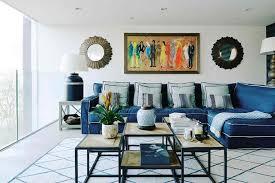 Rugs For Living Room Ideas Blue Sofa And Geometric Rug Living Room Design Ideas