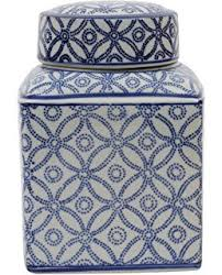 amazon com large square blue and white ceramic ginger jar with