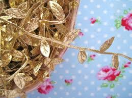 leaf ribbon shiny gold leaf ribbon garland trim vine leaves gold metallic