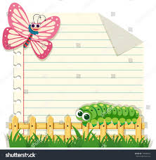 line paper template butterfly caterpillar illustration stock