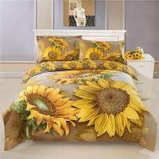 Sunflower Bed Set 3d Yellow Sunflowers Bedding Sets For King Quee Size 100 Cotton