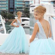 Discount Baby Blue 2017 Summer Wedding Dress Plunging Neckline