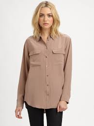 equipment signature blouse lyst equipment signature silk shirt in brown